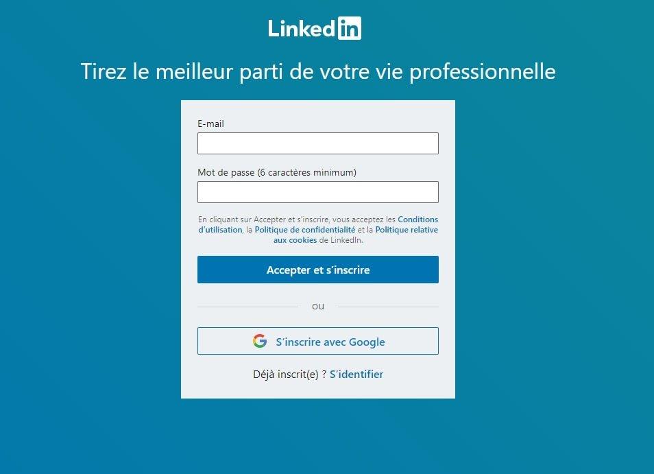 Page de création de compte sur linkedin